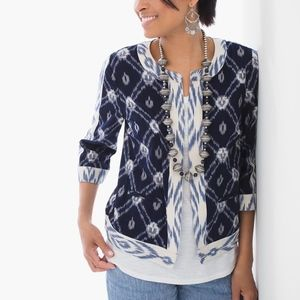Chicos Jacquard Cotton Ikat Open Jacket Blazer